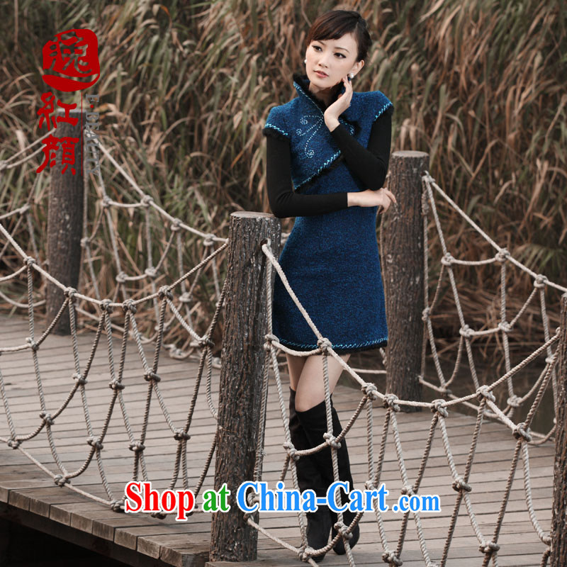 The proverbial hero once and for all as soon as possible overnight dream and gross margin improved cheongsam winter clothes new retro short cheongsam dress blue 2 XL