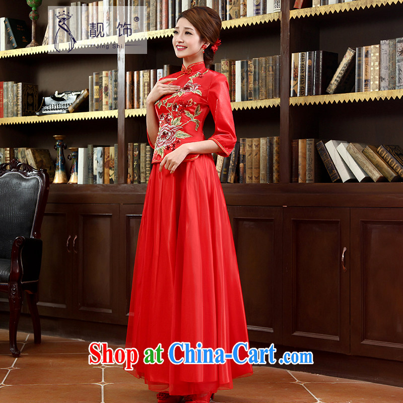 Beautiful ornaments 2015 new dresses 7 cuff red improved stylish long bows kit kit red cheongsam XL