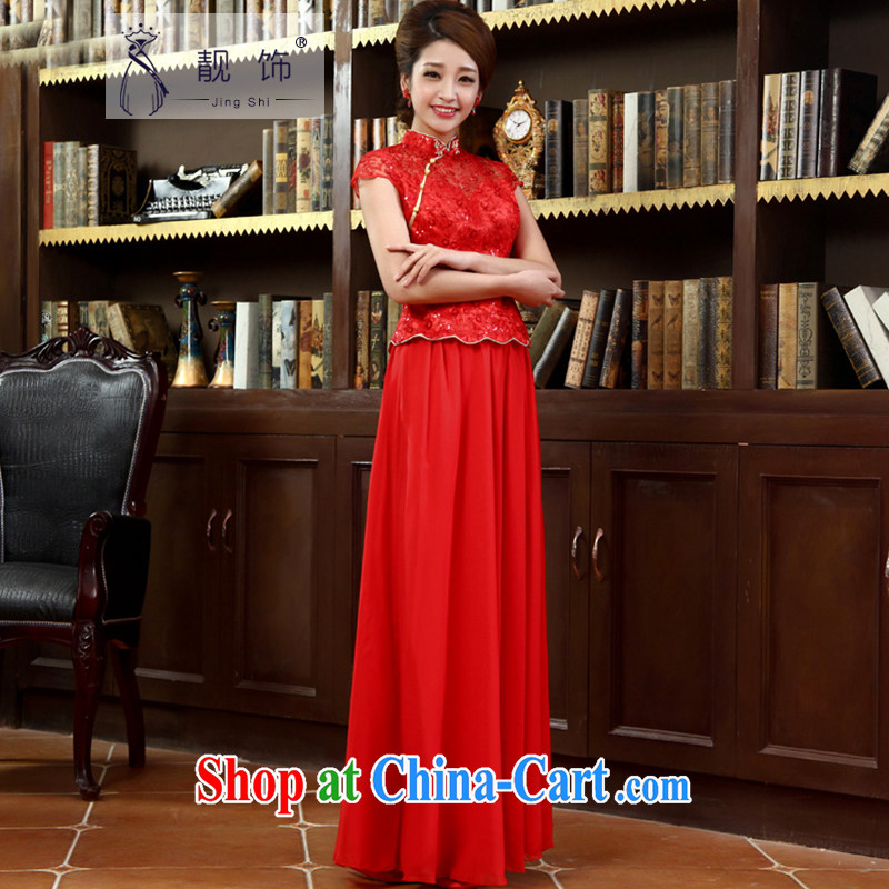 Beautiful ornaments 2015 new improved stylish long cheongsam dress marriages red bows outfit serving red cheongsam XL