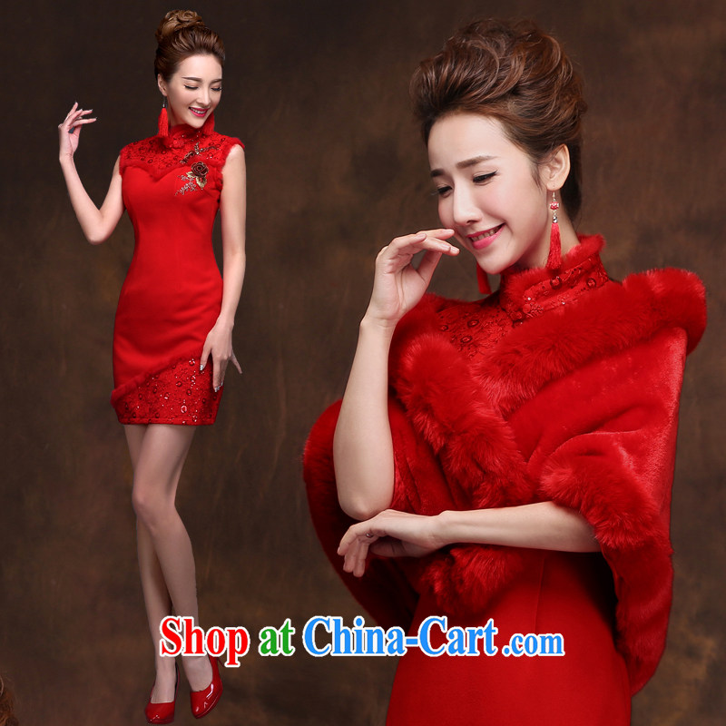 Qi wei served toast bride summer 2015 New Red toast clothing cheongsam banquet dress bride wedding toast serving short red dresses and shawls XXL