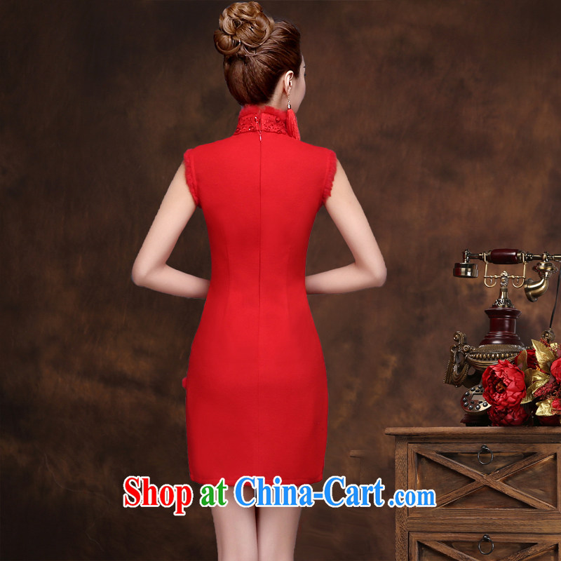 Qi wei served toast bride summer 2015 New Red toast clothing cheongsam banquet dress bride wedding toast serving short red dresses and shawls XXL Qi, Ms Audrey EU Yuet-mee, QI WAVE), online shopping