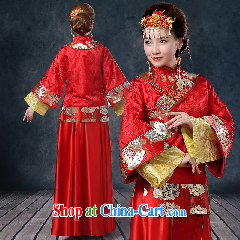Kidman, summer bridal wedding dresses red toast serving Chinese style wedding dresses long-sleeved Sau Wo service use phoenix retro married Yi red XXL