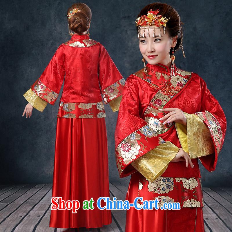 Kidman, summer bridal wedding dresses red toast serving Chinese style wedding dresses long-sleeved Sau Wo service use phoenix retro married Yi red XXL