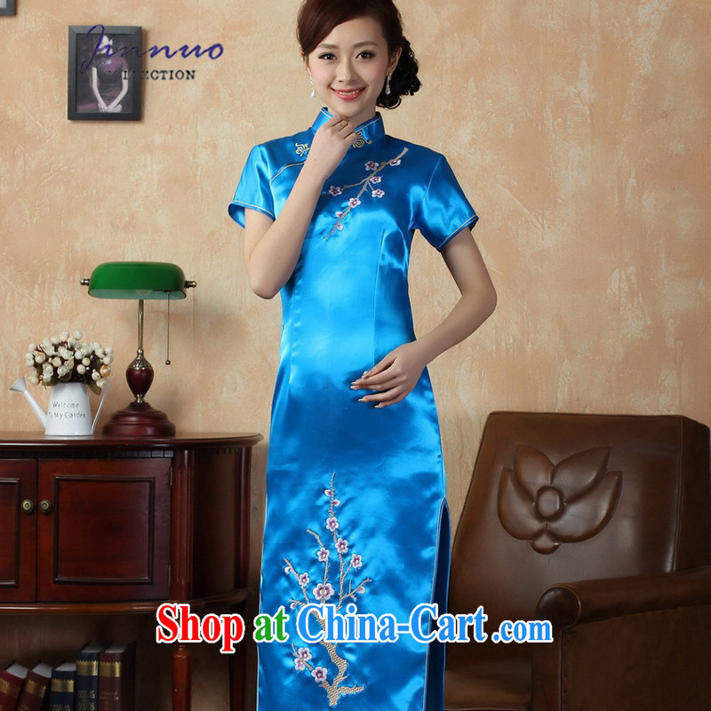 kam world the Hyatt elegant style retro Goddess of paragraph style embroidery Phillips long cultivating graphics thin package and qipao Chinese Dress long skirts J 3406 Lake blue 3 XL