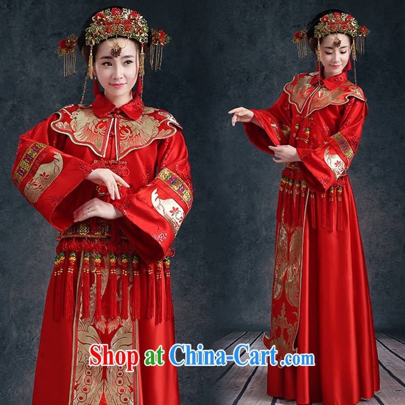 Kidman, Su-wo clothing Chinese wedding dress Phoenix bride and married Yi long-sleeved robes bows serving the code summer beauty, female Red XXL (3 - 5 Day Shipping)