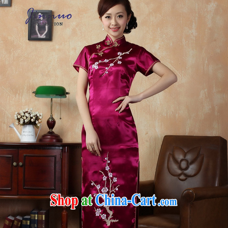 kam world the Hyatt cheongsam Chinese long, short-sleeved beauty graphics thin embroidery plum dress long skirts elegance dress uniforms moderator clothing J 3409 red 3 XL