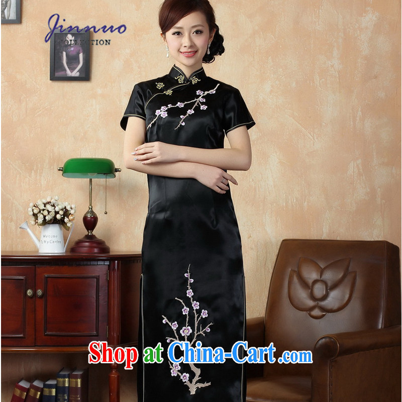 Kam-world, Yue and elegant ladies aura of Yuan Antique Chinese wind long embroidery floral dresses damask emulation Silk Cheongsam Chinese J 3408 black 3 XL