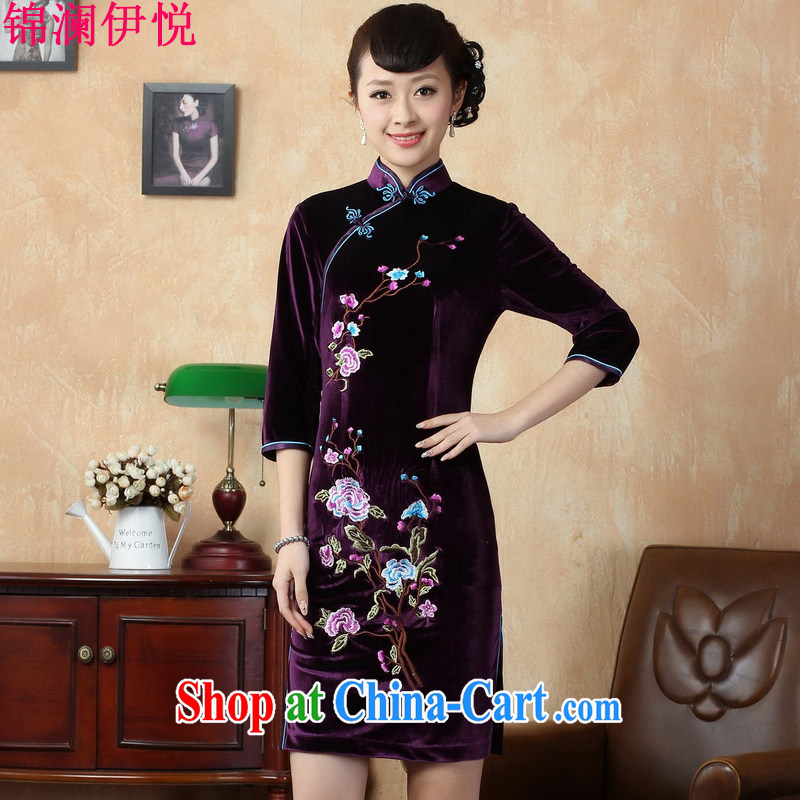 kam world, Yue Tang decorated in graphics thin package and retro stretch the wool embroidery roses in short sleeves cheongsam dress-skirt China wind TD 0010 - B violet XXL