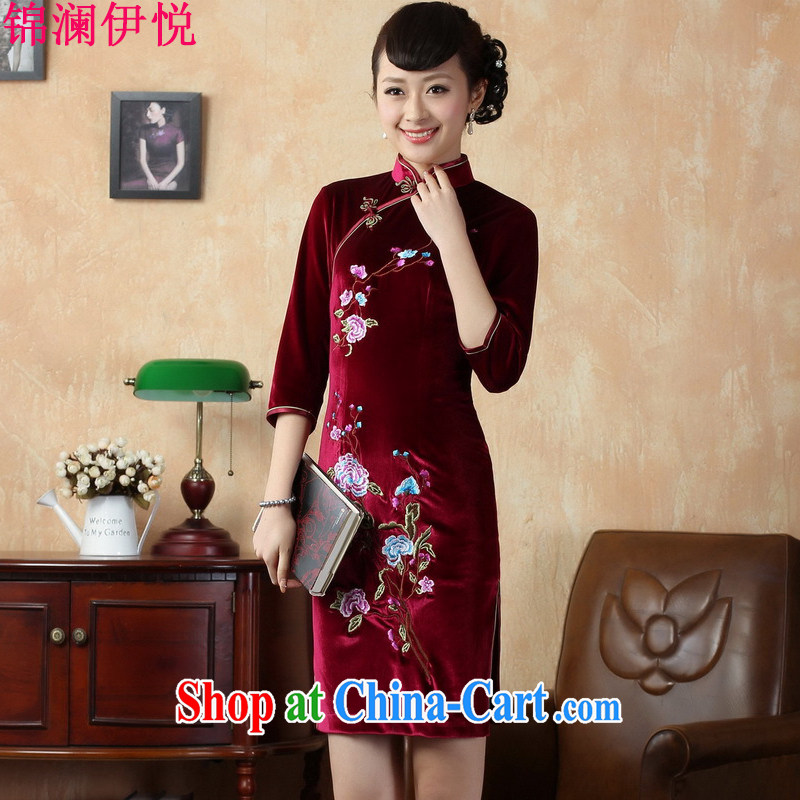 world, the Hyatt Regency of aristocratic ladies elegant antique Ethnic Wind cheongsam Chinese stretch the wool embroidery flower cuff short skirts shadow floor restaurant with middle-aged female TD 0010 wine red XXL