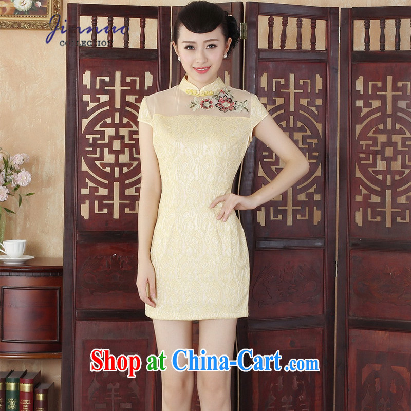 kam world the Hyatt 2015 summer new lady fashion improved cultivating flowers embroidery lace short cheongsam dress new Chinese Dress uniform toasting a skirt D 0254 yellow XXL