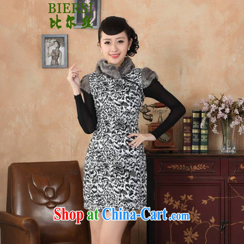 Carl Bildt, new improved Chinese qipao, for stitching black-and-white Leopard cultivating short-sleeved qipao dresses as figure 2 XL