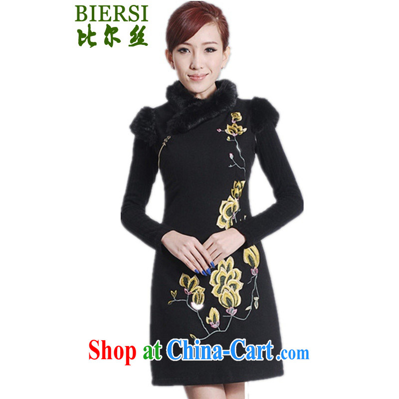 Carl Bildt, new Chinese qipao, for a tight embroidered beauty short cheongsam dress as figure 2 XL