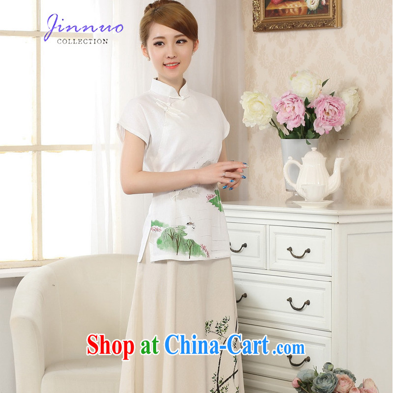 Kam-world the Hyatt small fresh and elegant sweet retro national style in a new, hand-painted dresses T-shirt stamp duty cotton MA the comfortable linen Chinese female Chinese improved A 0068 white XXL