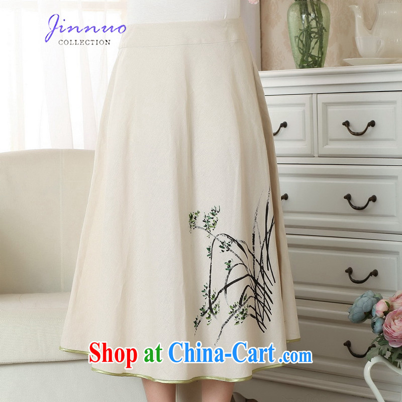 world, the Hyatt Regency new landscape stamp duty dresses T-shirt cotton the linen Chinese Ethnic Wind women short-sleeved T-shirt beauty graphics thin Chinese improved P 0011 body skirt XL