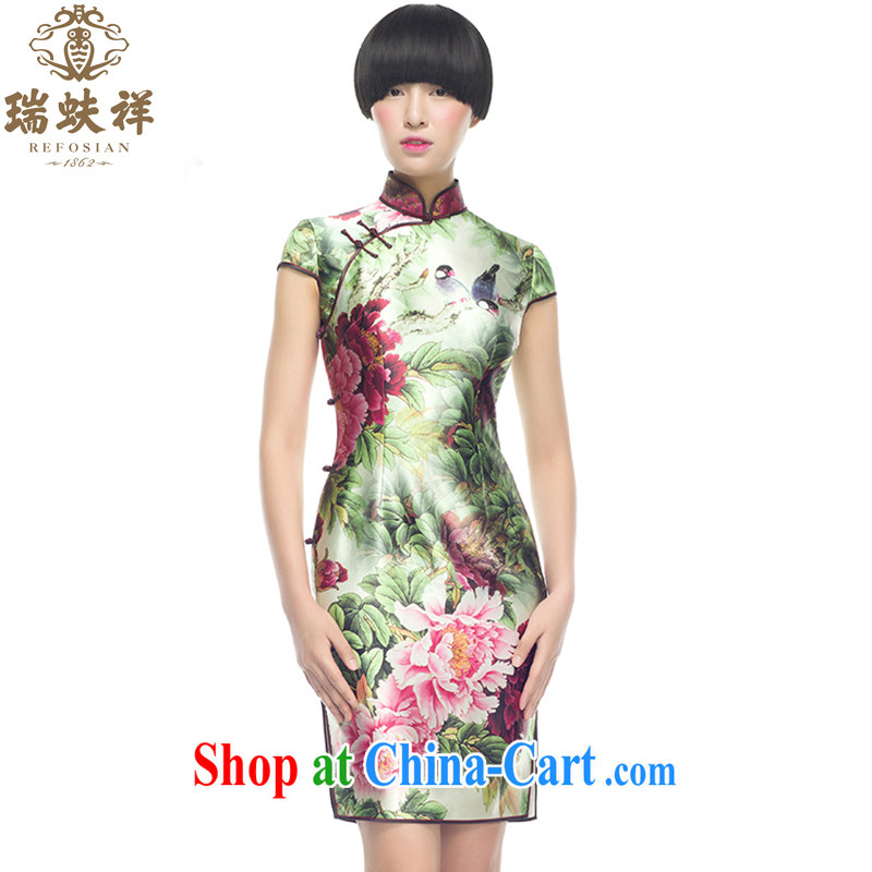 Ryan and Eric LI, genuine Silk Cheongsam short shell cuff singing birds and fragrant flowers improved stylish beauty dress modestly temperament XXL