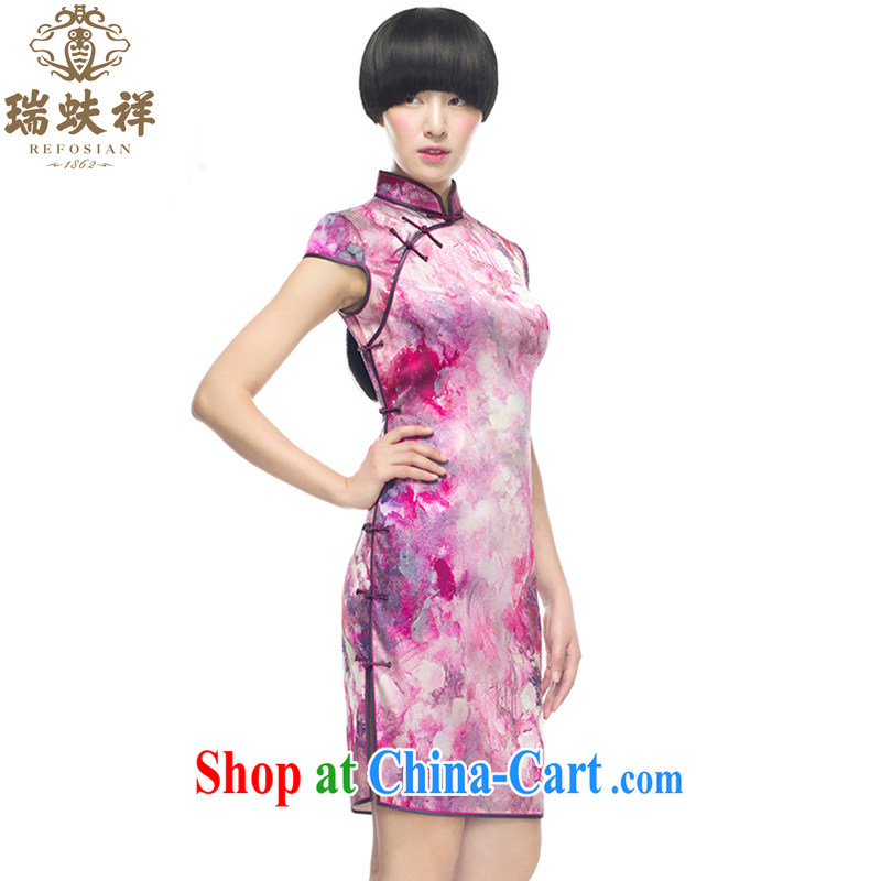 Ryan and Eric LI, genuine silk short cheongsam silk stretch Satin pink painting flowers stylish spring cultivating XXL