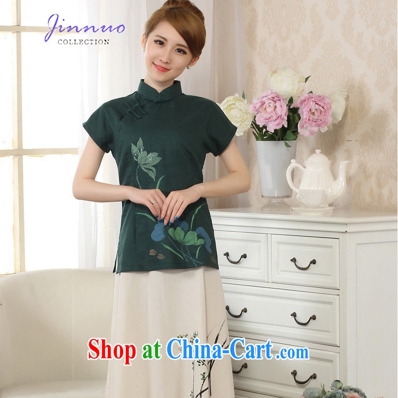 kam world the Hyatt new hand-painted dresses stamp T-shirt cotton the linen Chinese ethnic wind women short-sleeved T-shirt Tang with improved 2015 spring and summer 0067 A - A emerald XXL