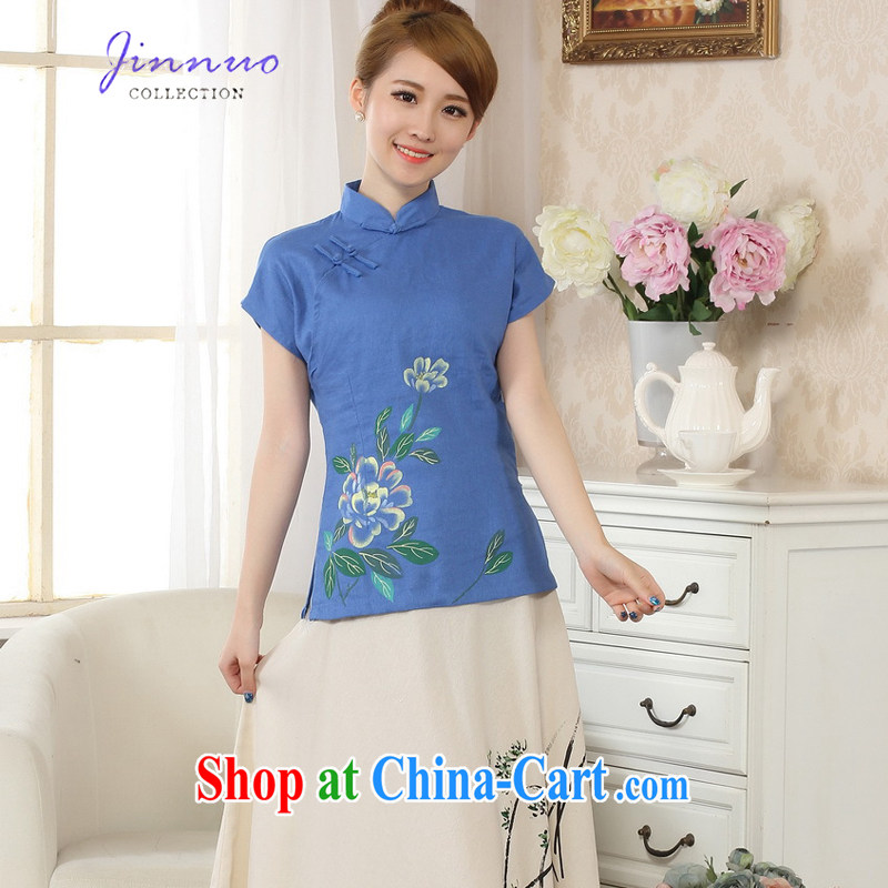world, the Hyatt Regency New Spring Summer hand-painted Lotus Peony stamp outfit T-shirt breathable and comfortable cotton the linen Chinese Ethnic Wind female short-sleeved, female Chinese A 0067 blue XXL
