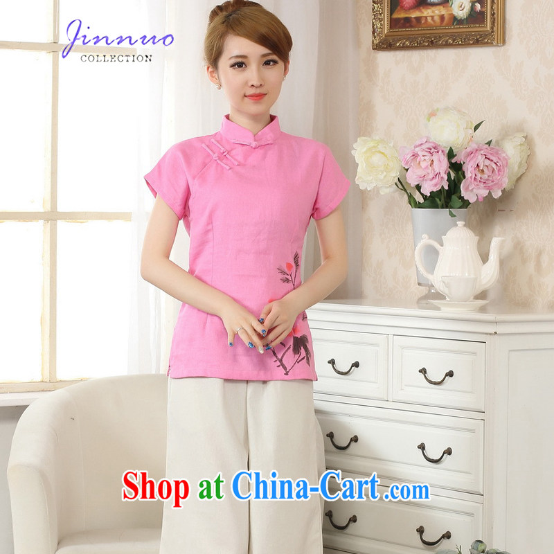 kam world the Hyatt new retro China wind hand-painted T-shirt outfit T shirt cotton the linen Chinese ethnic wind female Chinese improved A 0069 - B pink XXL