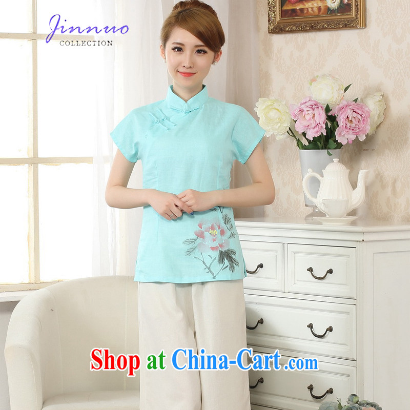 kam world the Hyatt new dresses, collared T-shirt linen Chinese Ethnic Wind China wind hand-painted ink stamp art van cotton leprosy girl decor, video thin Chinese improved A 0069 - C Lake blue XXL
