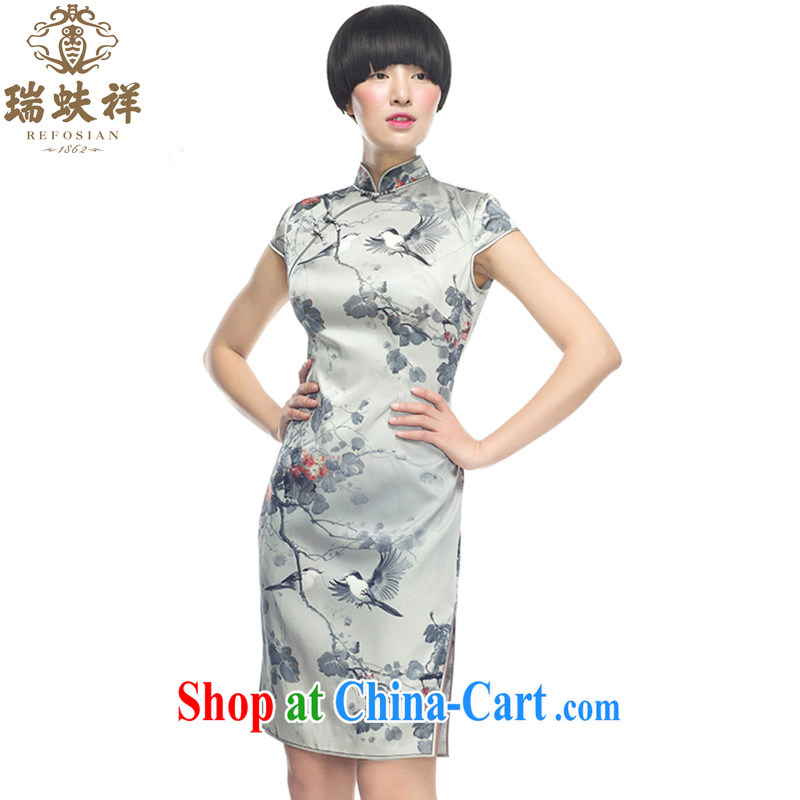 Ryan and Eric LI, genuine silk short cheongsam flower figure silk stretch Satin 2015 spring simple and stylish decor elegant XXL