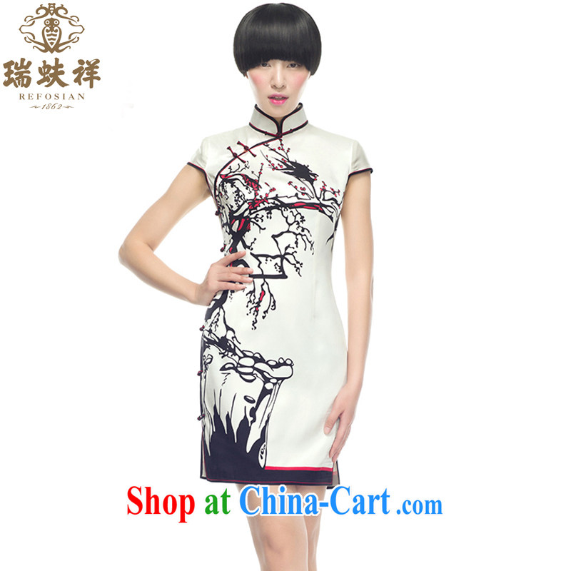 Ryan and Eric LI, genuine Silk Cheongsam short bird stains on cultivating improved cheongsam light solemn 100% sauna silk XXL