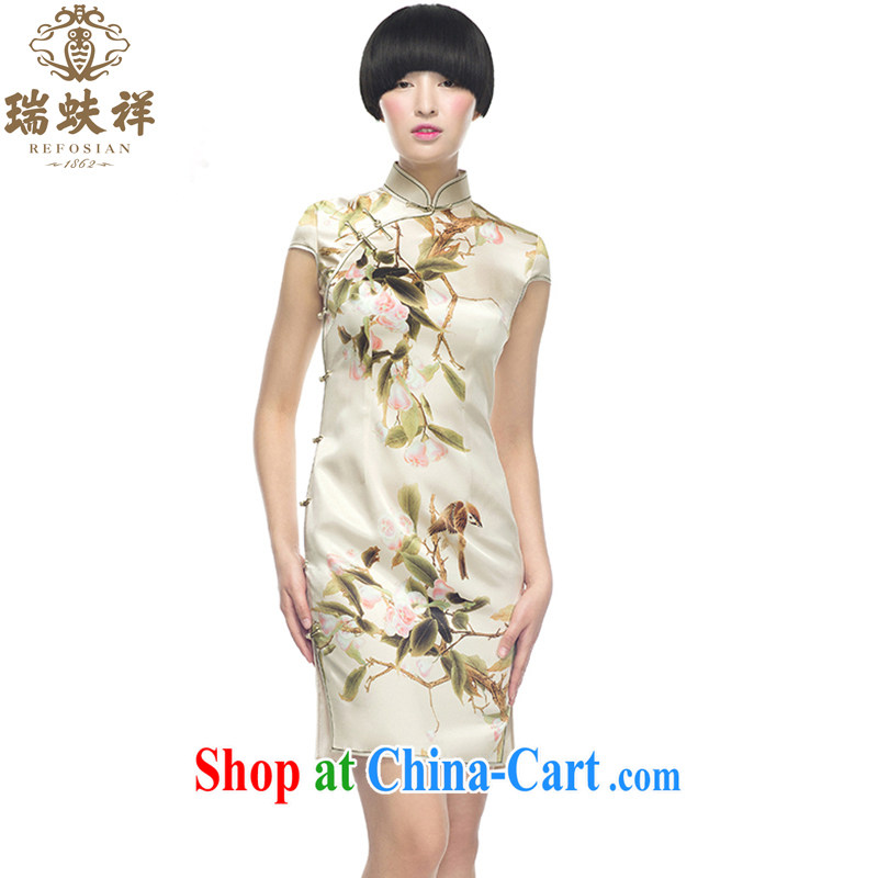 Ryan and Eric LI, genuine Silk Cheongsam short spring and autumn New China Wind Flower cultivation retro style 100% silk dos santos XXL