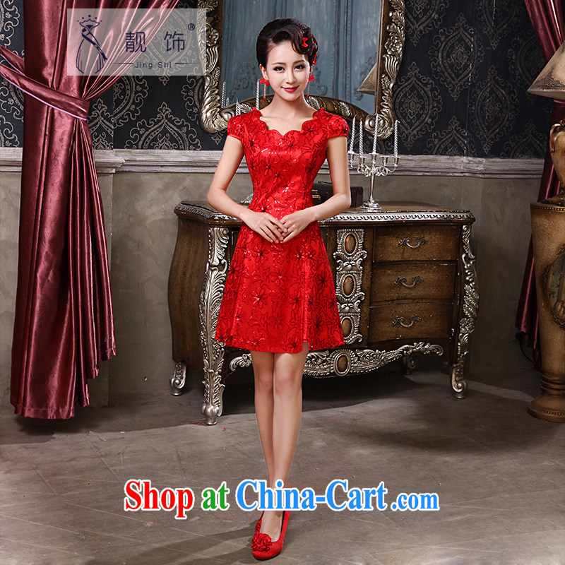 Beautiful ornaments cheongsam dress 2015 autumn and winter improved stylish bridal toast serving red lace short wedding dresses red short qipao 033 XL
