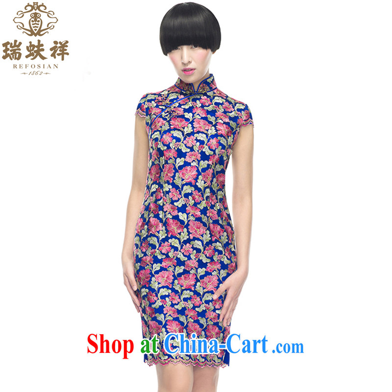 Ryan and Eric LI, genuine silk short cheongsam floral shell cuff lace beauty spring 2015 stylish and elegant XXL