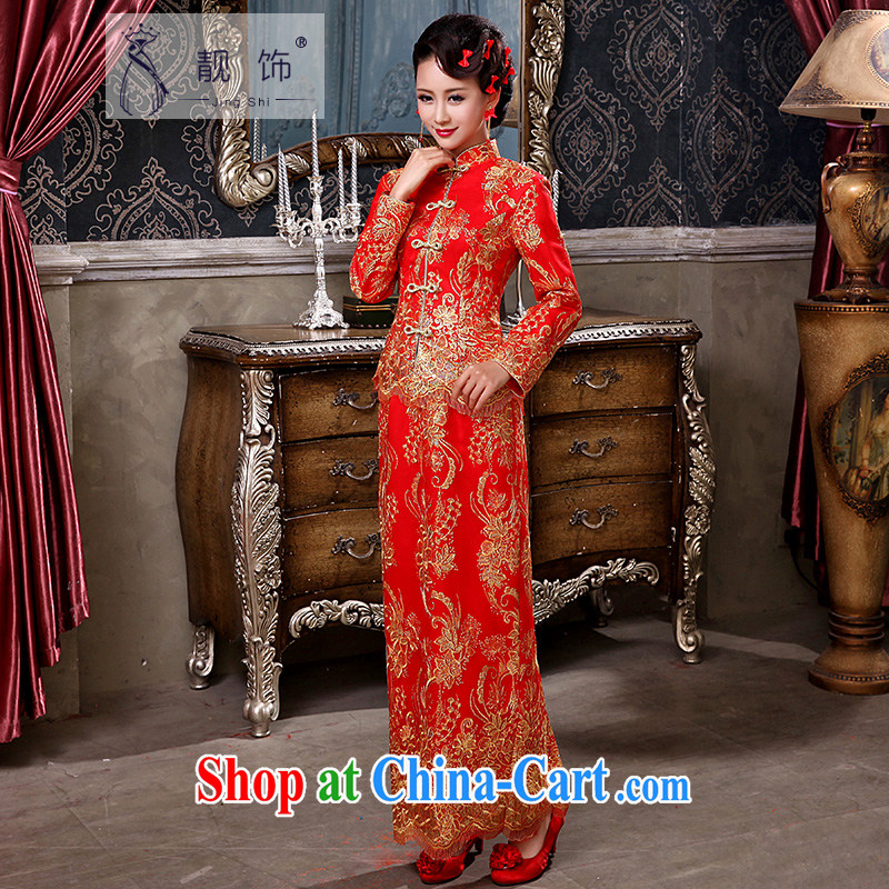 Beautiful ornaments 2015 autumn and winter New Red bridal wedding toast serving long-sleeved improved antique cheongsam dress red long cheongsam L