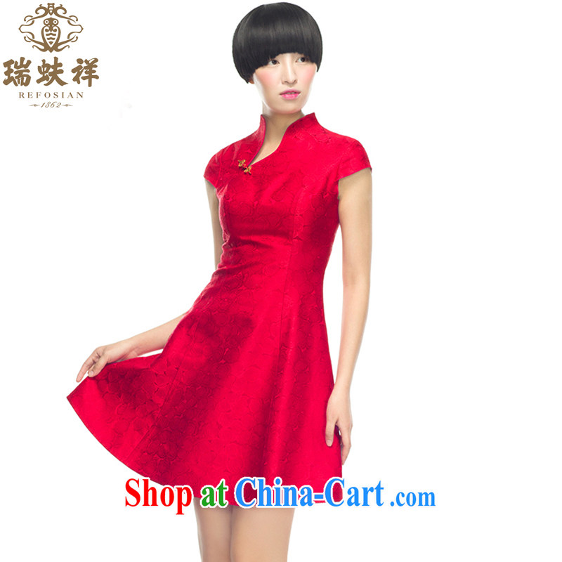 Ryan and Eric LI, genuine brocade coverlets short cheongsam plain colored china red improved opening tie, fashionable dresses beauty L