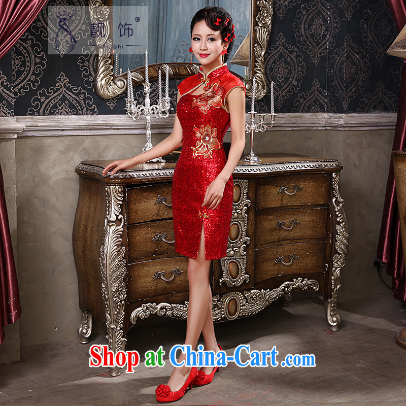 Beautiful trim dress new 2015 bright red short the forklift truck beauty graphics thin retro dresses wedding toast serving female Red cheongsam M