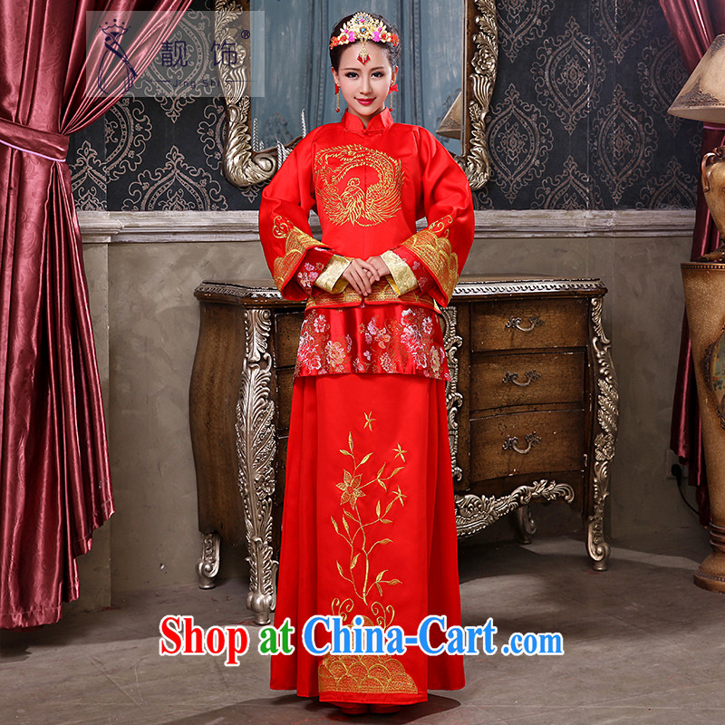 Beautiful ornaments 2015 new Chinese Antique toast serving female Red-su Wo service marriages long-sleeved qipao married Yi red-su Wo service XL