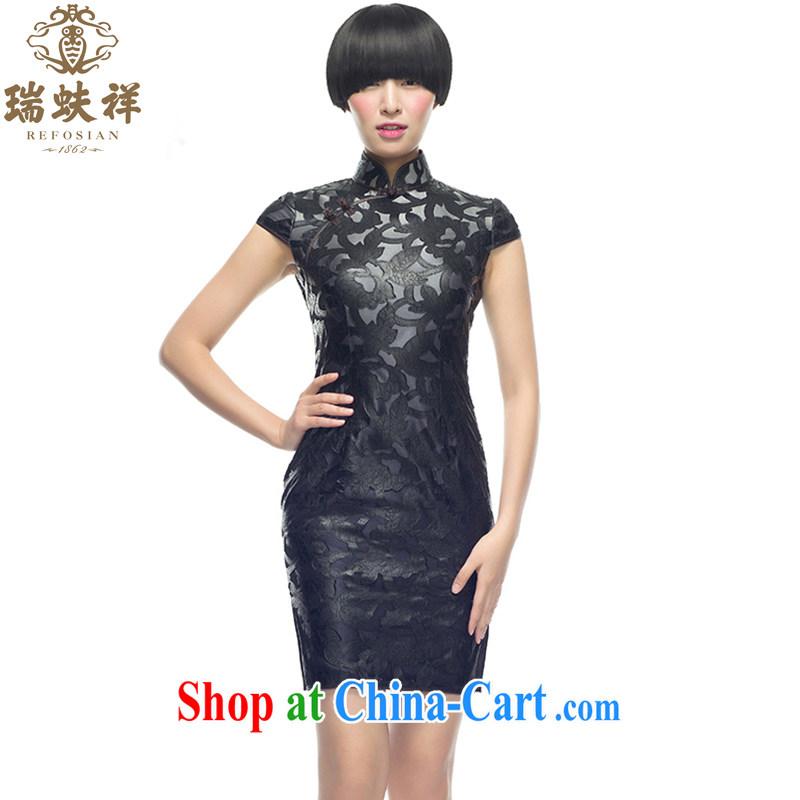 Ryan and Eric LI, genuine silk Openwork short cheongsam black floral beauty dress spring new 100% silk dos santos XXL