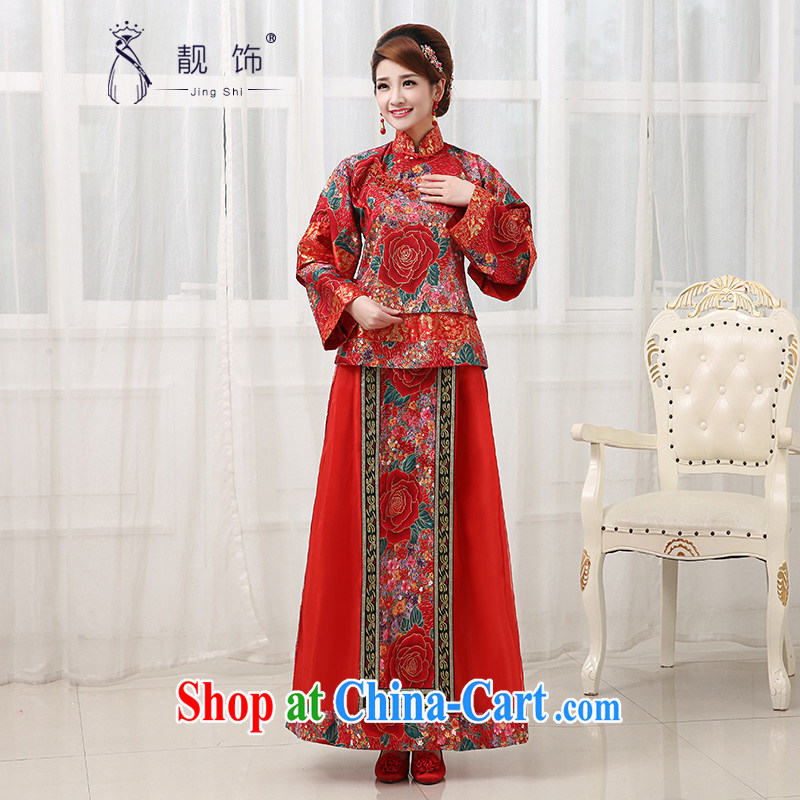 Beautiful ornaments 2015 new antique Chinese wedding show reel service retro embroidery, for long-sleeved dresses costumes elegant atmosphere red Chinese qipao XXL