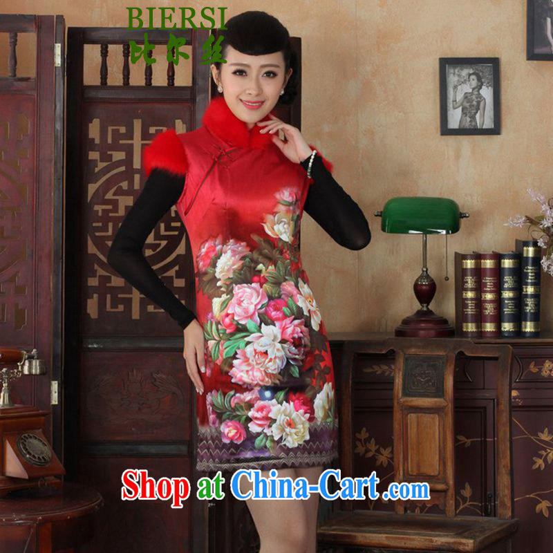 Carl Bildt, spring new girls improved Chinese qipao, for gross for classical-snap poster beauty short cheongsam dress Y 0021 - C #2 XL