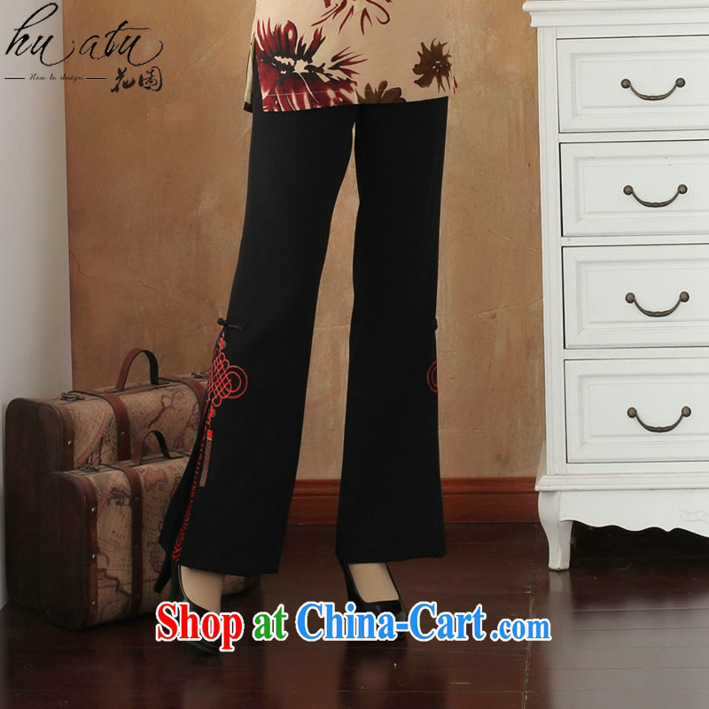 Take the female spring trousers Tang in has been around his waist and Trouser Press bead embroidered trousers larger trousers Tang mounted micro-horn pants - 3 macrame 2XL