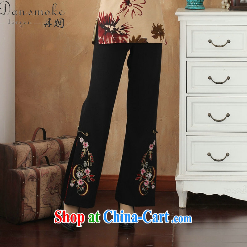 Dan smoke female spring trousers Tang in has been around his waist and Trouser Press bead embroidered trousers larger trousers Tang mounted micro-horn pants - 1 embroidered 4 XL