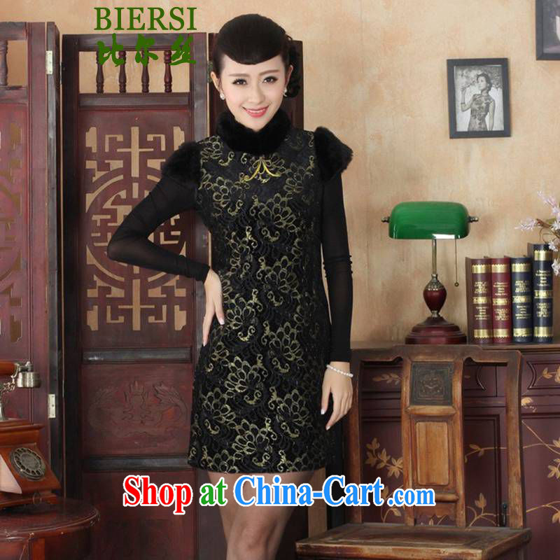 Bill's new Chinese qipao improved, gross for short-sleeved cultivating short cheongsam dress such as figure 2 XL