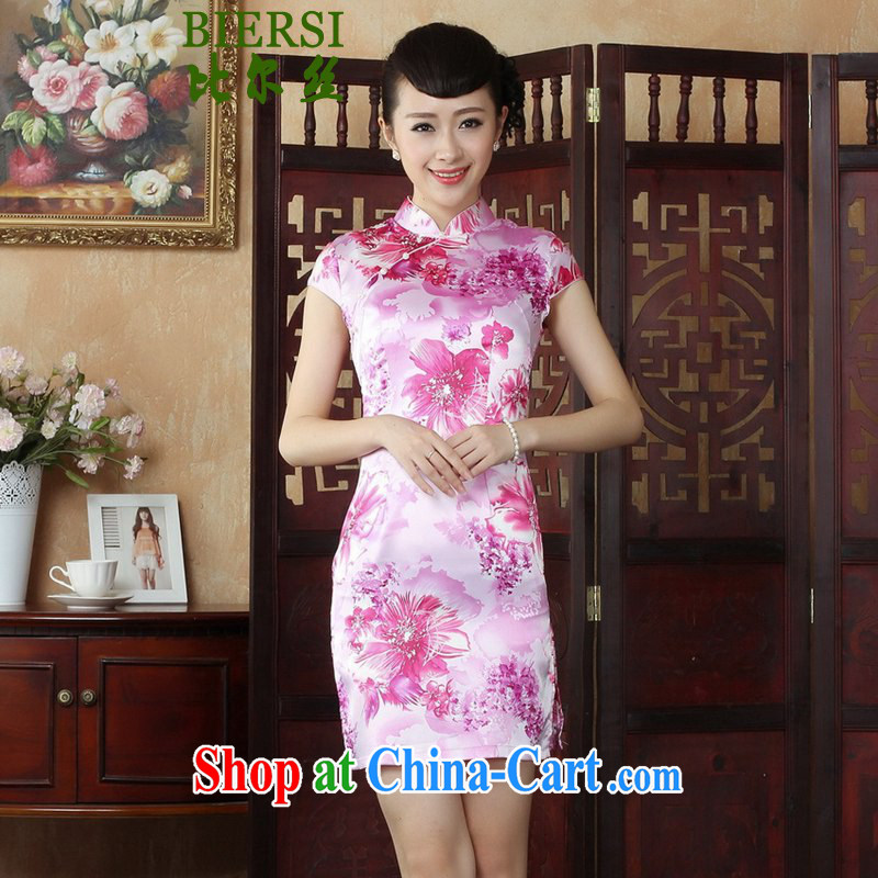 Bill's new National wind Chinese qipao, for a tight stamp short cheongsam beauty skirt such as figure 2 XL