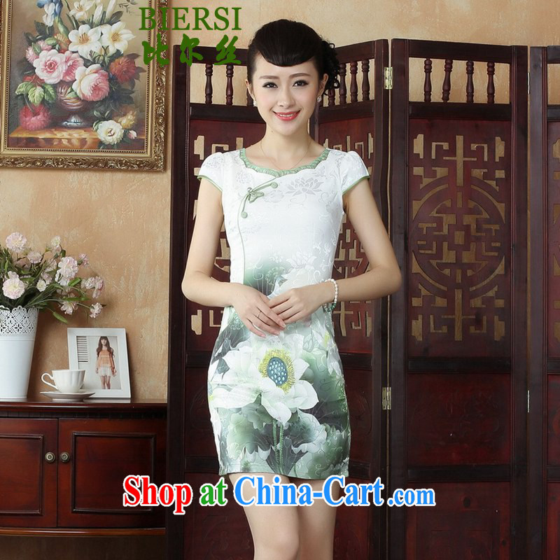 Bill Gates, China wind stylish new women with improved Chinese qipao with beauty I should be grateful if you green cheongsam dress as figure 2 XL