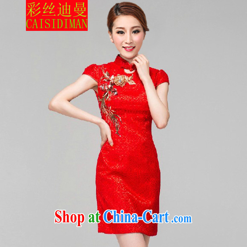 colored silk's 2015 bridal dresses wedding toast clothing retro embroidery take short improved cheongsam red XL