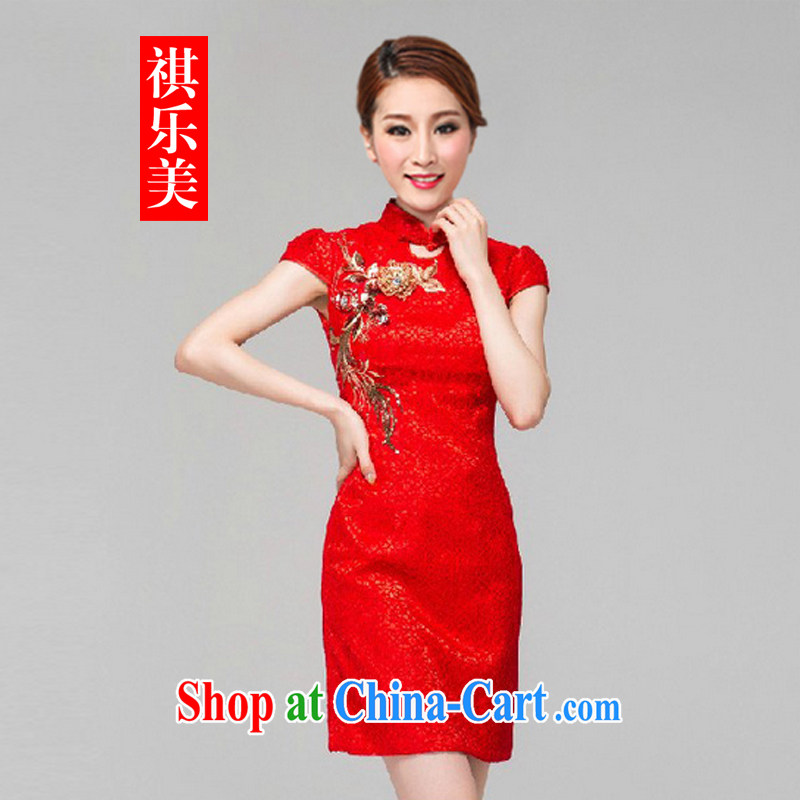 Sincerely, 2015 New Red bridal dresses wedding toast clothing retro embroidery take short improved cheongsam-Noble Y 7771 red XL