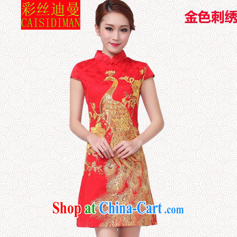 colored silk's 2015 New Year show wedding dress bridal wedding retro improved red toast serving short cheongsam Kim Peacock XL