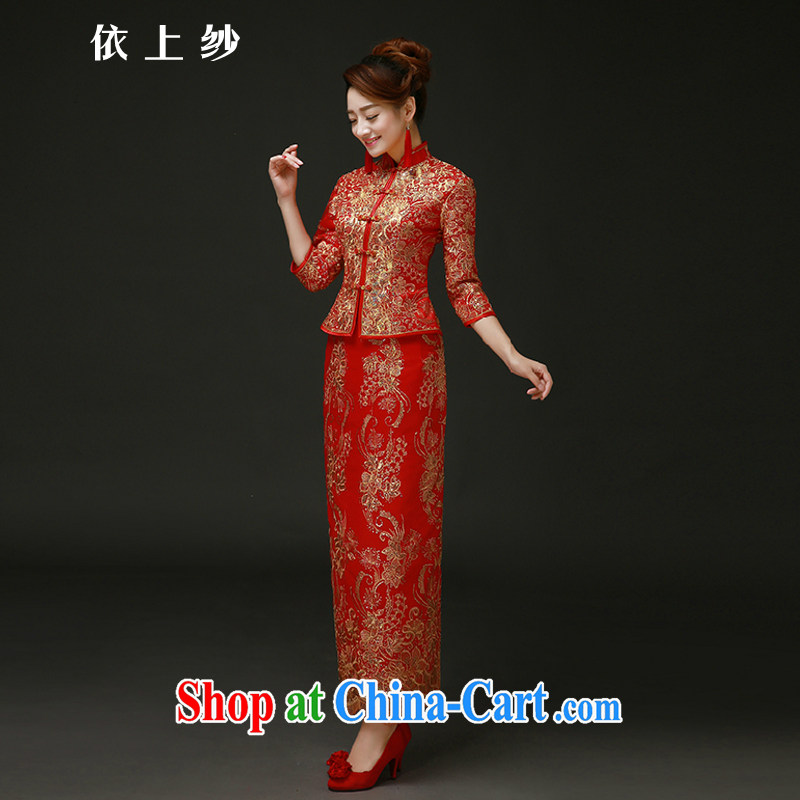According to the 2015 Uganda new Chinese wedding dress show reel service long toast cotton clothing retro bridal dresses autumn and winter red winter and cotton red long-sleeved quilted fall out, do size is not returned.
