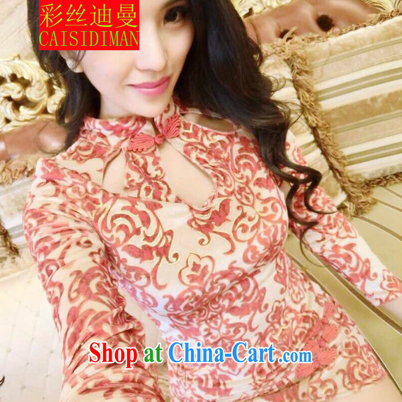 colored silk's spring 2015 new European site name Yuan female aura sense of retro blue and white porcelain fashion cheongsam red are code