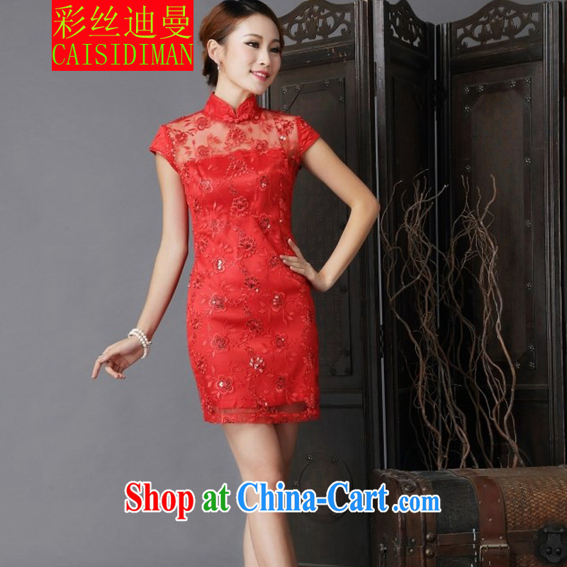 colored silk's 2015 New Year show wedding dress bridal wedding retro improved red bows outfit serving red XL