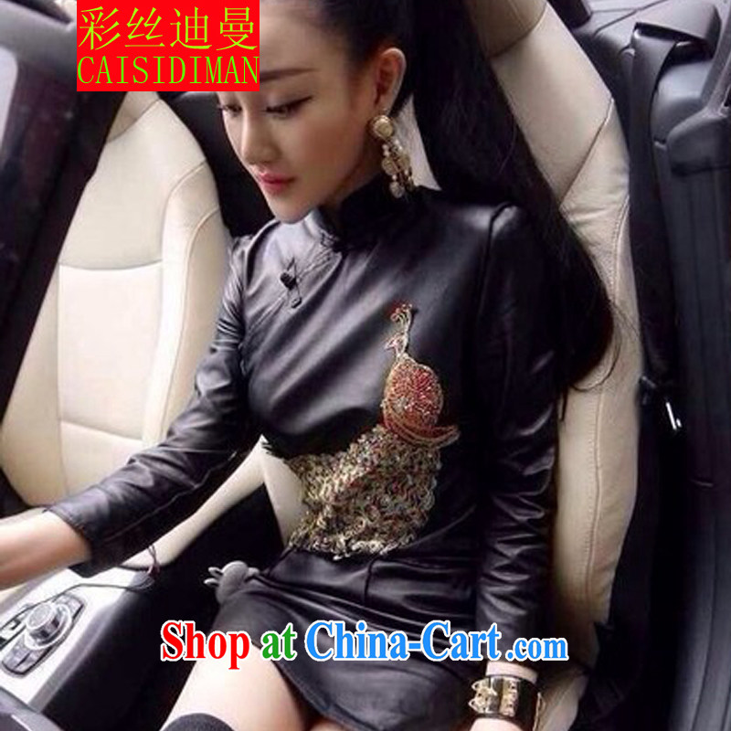 colored silk, Cayman 2015 retro PU leather-tie Peacock beauty package and cheongsam sexy night leather dress black M