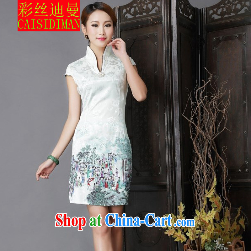 colored silk's 2015 National wind Tang with stylish and improved Daily Beauty sexy cheongsam dress light green S