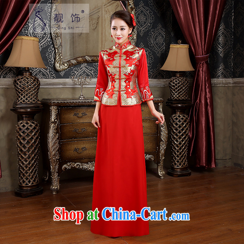 Beautiful ornaments 2015 new cheongsam toast Service Bridal red retro dresses toast serving long cheongsam red XL code